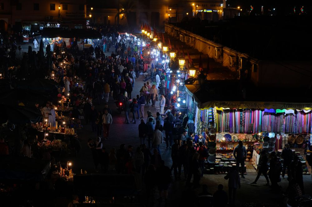 Jamaa El Fna by night, Nuts, Colors of the souk, 5 ways to explore Marrakech, Take time to immerse yourself in Jamaa el Fna square, Medina, Marrakech, Morocco