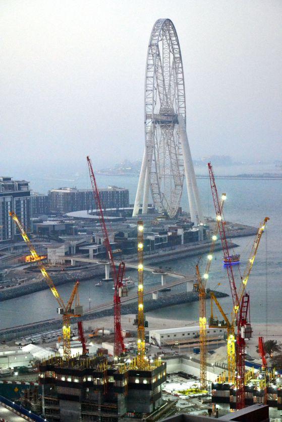Big wheel and cranes
